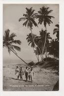 K-191 Colombo Ceylon Sri Lanka Tramping Across The Sands Real Photo Postcard - Postcards