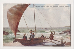 K-215 Celyon Colombo Outrigger Fishing Canoe With Sails Plate Postcard - Postcards