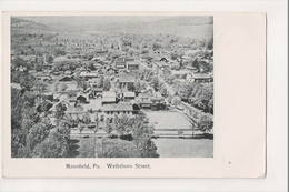 K-273 Mansfield Pennsylvania Wellsboro Street Aerial View UDB Postcard - United States