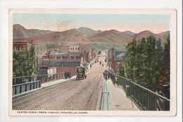 K-303 Pocatello Idaho Center Street From Viaduct 1920 Postcard - Etats-Unis