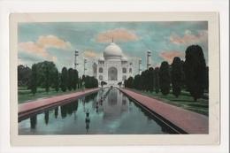 K-358 Taj Mahal Agra India Hand Colored Real Photo Postcard Linen Paper - Postcards