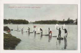 K-357 Ceylon Colombo Lake Sri Lanka Dhobies At Work Vintage Postcard - Postcards