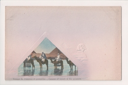 K-681 Egypt Caravan Of Camels At The Pyramid Neat Early Postcard - Other