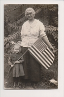 L-229 Woman And Girl With American Flag Early Real Photo Postcard - Famous People
