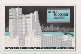 L-364 Brooklyn New York Hotel St George Clark Street Art Deco Postcard 1937 - Other