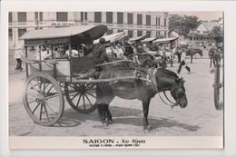 L-473 Saigon Vietnam Xe Ngua Horse Drawn Car Real Photo Postcard - Postcards