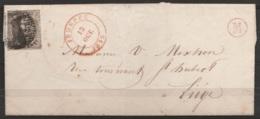 """L. Datée 1852 De Engis Affr. N°6 Càd """"JEMEPPE/13 OCT/1852"""" Pour Liège + Boîte """"M"""" Rouge - 1851-1857 Medallions (6/8)"""