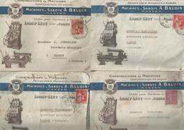 LURCY - LEVY : MACHINES A SABOTS A. BAUDIN : 4 ENVELOPPES ILLUSTREES - France
