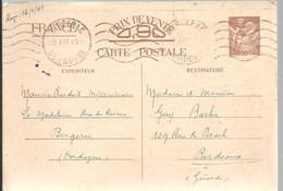 CARTE POSTALE  1941  BERGERAC - Enteros Postales