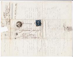 Lettre 1860 Avesnes Sur Helpe Nord Stavaux Bonnaire Filature Laine Wool Timbre Napoléon III 20 Centimes - 1853-1860 Napoléon III