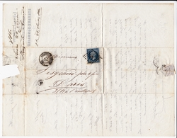 Lettre 1860 Avesnes Sur Helpe Nord Stavaux Bonnaire Filature Laine Wool Timbre Napoléon III 20 Centimes - 1853-1860 Napoleon III