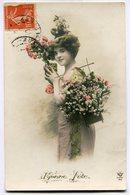 CPA - Carte Postale - Fantaisie - Portrait De Femme - Fleurs - Bonne Fête - 1910 (B9413) - Femmes