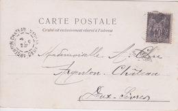 TIMBRE TYPE SAGE 10 CTS NOIR - SUR CPA  EXPOSITION UNIVERSELLE 1900 - PORTE DU GRAND PALAIS - CACHET ARGENTON CHATEAU - 1898-1900 Sage (Type III)