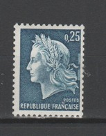 FRANCE / 1967 / Y&T N° 1535b **  : Marianne De Cheffer 25c Bleu (de Roulette Sans N°) - Gomme Tropicale Intacte - France