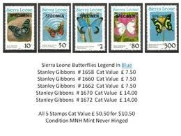 PAYPAL SKRILL - Sierra Leone Legend In Blue MNH - Set X4 Stamps Cat £ 50.50 - Insects Moths Butterflies - Super Bargain - Butterflies