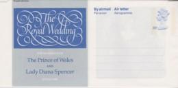 Great Britain 1981 The Royal Wedding Mint Aerogramme - Interi Postali