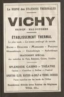 PUBLICITE 1925 - VICHY LA REINE Des STATIONS THERMALES - SPLENDIDE CASINO THEATRE - MECANOTHERAPIE ELECTROTHERAPIE - Publicités