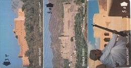 "Oman (GPT) Magnetic Phone Cards, ""First Fort Series"" Jabrin, Bhala & Barka Forts, Set Of 3 Cards - Oman"