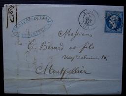 Bédarieux 1859 Vernazobres & Fils Lettre Pour Montpellier - 1849-1876: Periodo Classico