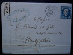 Bédarieux 1859 Vernazobres & Fils Lettre Pour Montpellier - Postmark Collection (Covers)