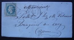 1870 Gare De Tonnerre Sur Une Lettre Pour Ervy (Somme) - Poststempel (Briefe)