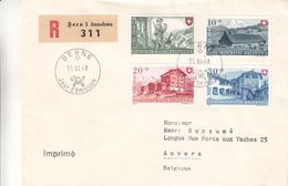 Suisse - Lettre FDC Recom De 1948 - Oblit Bern - Exp Vers Anvers - Valeur 130 Euros - Briefe U. Dokumente