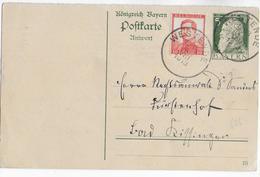 1913 - BAYERN / BELGIQUE - CP ENTIER REPONSE De BAVIERE (TARIF INTERIEUR !!) Avec AFFR. COMPLEMENTAIRE De WESTENDE - 1912 Pellens