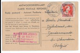 1954 - BELGIQUE - CARTE REPONSE Avec TIMBRE BELGE OBLITERE à NANCY (MEURTHE ET MOSELLE) => DENDERMONDE - Covers & Documents