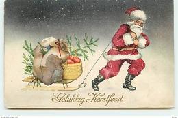 N°10787 - Carte Fantaisie - Gelukkig Kerstfeest - Père Noel Tirant Un Traineau - Noël