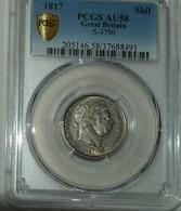 Silber/Silver Großbritannien/Great Britain George III, 1817, 1 Shilling PCGS GRADED Funz/AU - 1816-1901 : 19th C. Minting