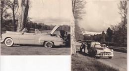 LIMOGES Automobile Avril 1952 Pneu éclaté à Remplacer à Proximité De Limoges 2 Photos Amateur Format Environ 5,5 X 7 - Automobili