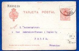 Espagne --  Entier Postal  - Pour Paris -  27/12/1910 - 1850-1931
