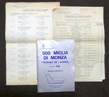 500 Miglia Di Monza - Trophee De L'Avenir - Autodromo Monza - 1975 - Regolamento - Altri