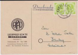 Bund Posthorn Mi 123 (2) W Paar MeF Kte Bamberg 1951 R - Briefe U. Dokumente