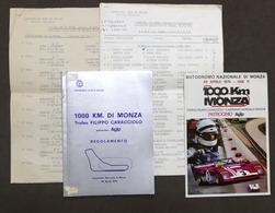 1000 Km Di Monza - Trofeo Caracciolo - Autodromo Monza - 1975 - Regolamento - Altri