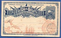 Salvador --  Entier Postal  -  31/12/1892 - El Salvador