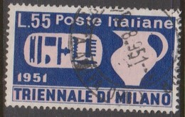 Italy Republic S 667 1951 Triennial Art Exhibition,55 Lire Violet And Pale Red,used - 6. 1946-.. Republic