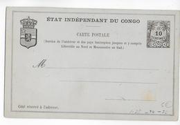 "CONGO BELGE - CARTE ENTIER POSTAL NEUVE ""ETAT INDEPENDANT DU CONGO"" - Stamped Stationery"