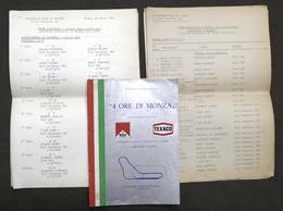 4 Ore Di Monza - Trofeo Mario Angiolini - Autodromo Monza - 1975 - Regolamento - Altri