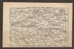 CARTE PLAN 1922 - VALLEE Du CHER De TOURS à VIERZON - AMBOISE St AIGNAN SALBRIS LOCHES VALENCAY - Cartes Topographiques