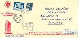 Romania Registered Cover Sent To Denmark Bucuresti 10-9-1990 (Hotel Inter Continental Cachet) - Cartas