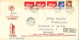 Romania Registered Cover Sent Air Mail To Denmark Bucuresti 3-1-1994 (Hotel Inter Continental Cachet) - Cartas
