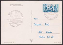 """Rostock-Warnemünde FDGB Urlauberschiff """"MS Völkerfreundschaft"""" Freundschaftsfahrt 8. - 18.10.1969, Ak Karte - Maritime"""