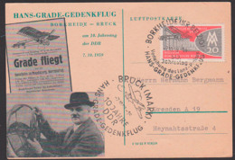 Hans Grade Borkheide Kr. Belzig SoS -Karte Gedenktag 10 Jahre Hans-Grade-Gedenkflug, Lanz-Preis 7.10.59 - DDR