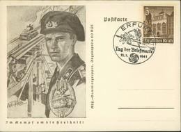 Ganzsache Deutsches Reich: Im Kampf Um Die Freiheit! Sonderstempel: Erfurt-Tag Der Briefmarke 1941 - Ansichtskarten