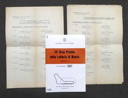 14° Gran Premio Lotteria Autodromo Di Monza - Formula 2 - 1972 - Regolamento - Altri