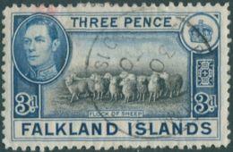 Falkland Islands 1938 SG153 3d Black And Blue Flock Of Sheep KGVI FU - Falkland Islands