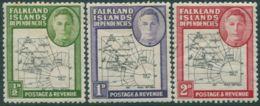 Falkland Islands Dependencies 1946 SGG1-G3 KGVI Map MH - Falkland Islands
