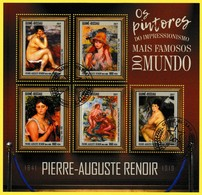 Bloc Feuillet Oblitéré De 5 Timbres-poste - Tableaux De Pierre-Auguste Renoir - République Guinée-Bissau 2017 - Guinea-Bissau