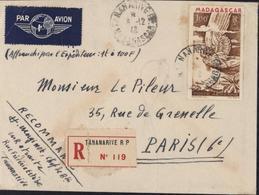 Lettre Et Timbre Poste Aérienne 100F Madagascar Déesse Ailée CAD + Recommandé Tananarive RP 8? 12 48 YT Ae 62 - Madagascar (1889-1960)